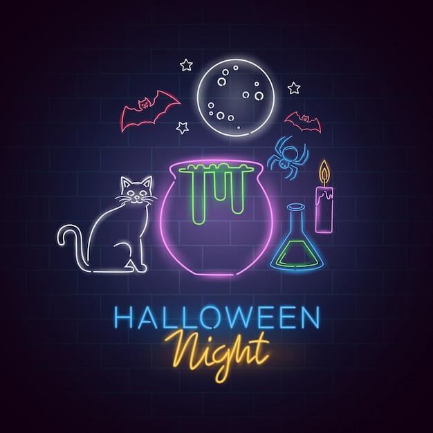 Halloween-nachtleuchtreklame. halloween-plakat-designschablonenleuchtreklame, horrorlichtfahne, leuchtreklame Premium Vektoren