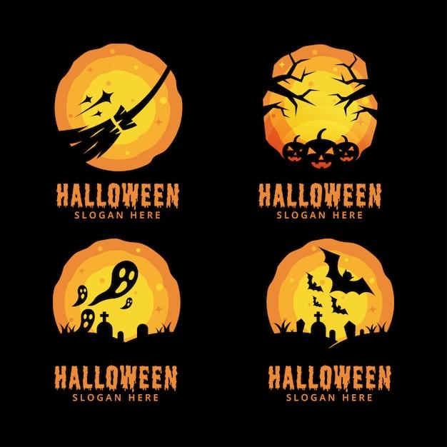 Halloween-nachtlogobündel Premium Vektoren