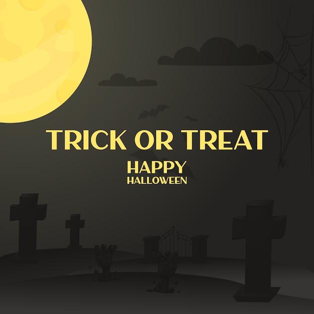 Halloween-nachtwald mit mond. allerheiligen abend. heiliger tag Premium Vektoren