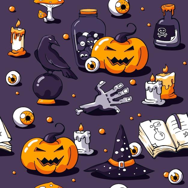 Halloween nahtlose muster auf violett Premium Vektoren