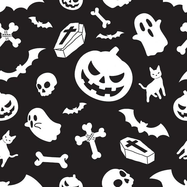 Halloween nahtlose muster kürbis Premium Vektoren