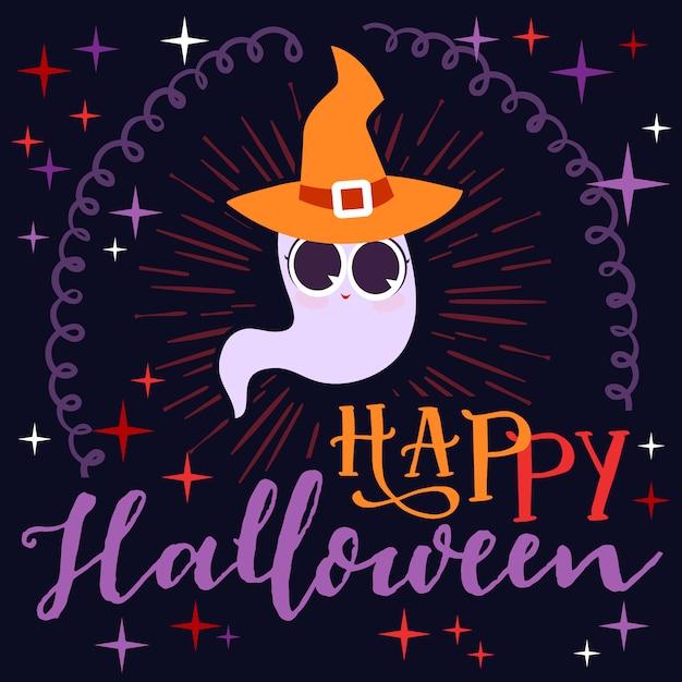 Halloween-niedlicher geist mit hutgrußkarte Premium Vektoren