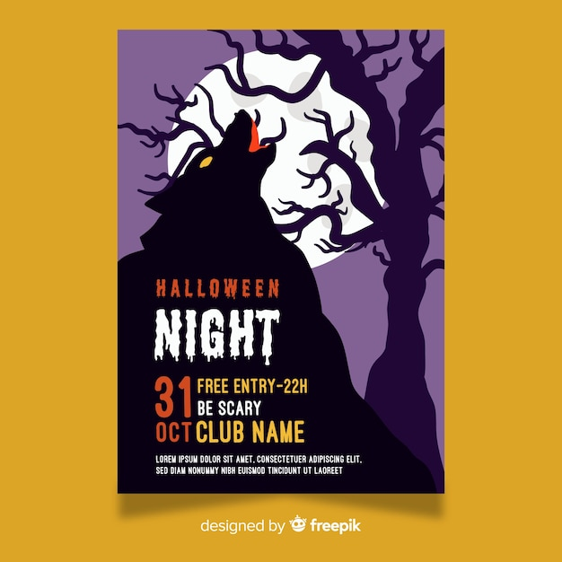 Halloween night party flyer vorlage Kostenlosen Vektoren