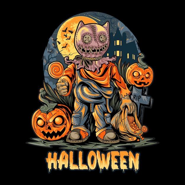 Halloween night und pumpkins artwork Premium Vektoren