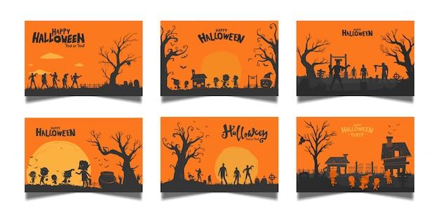 Halloween orange kartensatz Premium Vektoren