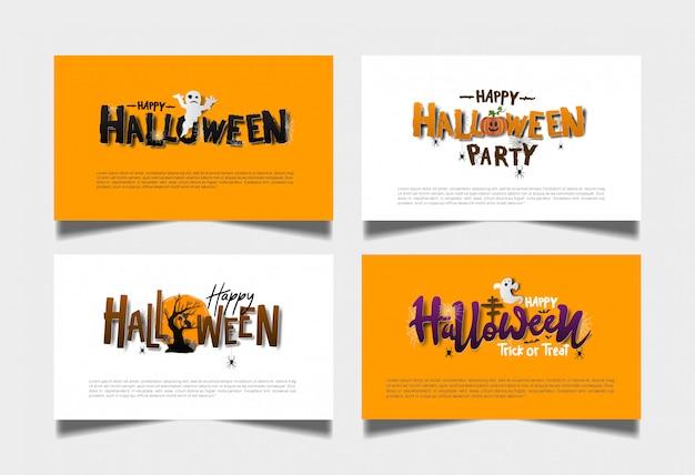 Halloween orange weißes kartenset Premium Vektoren