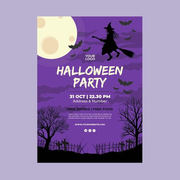 Halloween party a5 flyer Kostenlosen Vektoren