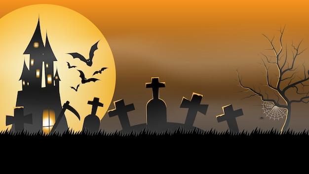 Halloween-party-banner, vollmond, spukhaus auf dem friedhof. feiertags-party-einladungsplakat, grußkarte, partyeinladung, vektorillustration. Premium Vektoren