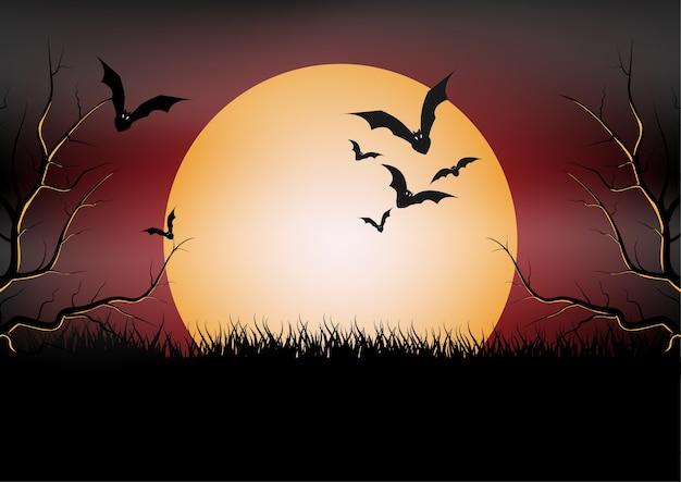 Halloween-party-banner, vollmond und fledermaus in der nacht. urlaub Premium Vektoren