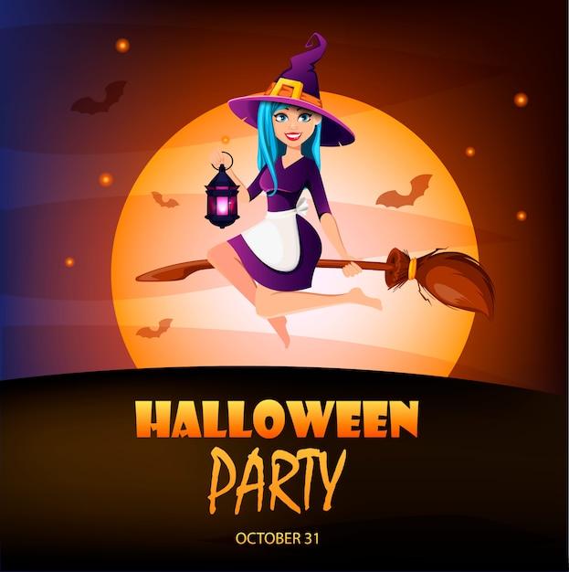 Halloween-party einladung. schöne hexe Premium Vektoren