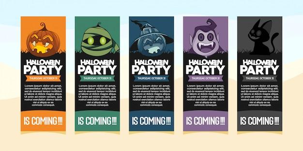 Halloween-party einladungen mit illustration des halloween-kostüms Premium Vektoren