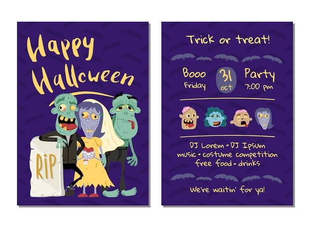 Halloween-party einladungskarte mit lustigen zombies Premium Vektoren