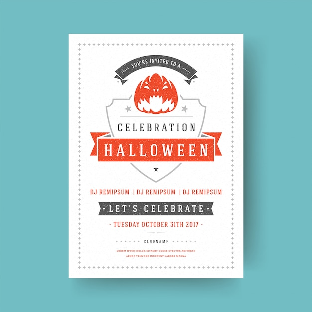 Halloween party flyer feier nacht party poster design vintage typografie vorlage Premium Vektoren