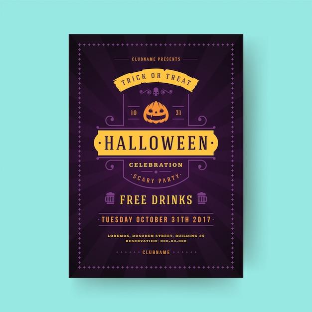 Halloween party flyer feier nacht party poster oder flyer vorlage Premium Vektoren