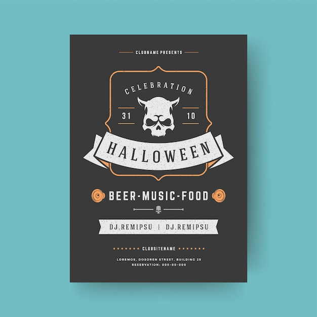 Halloween party flyer feier nacht party poster Premium Vektoren