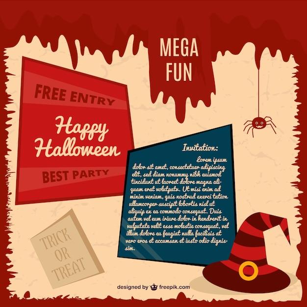 halloween-party-karte einladung   download der kostenlosen vektor, Einladung