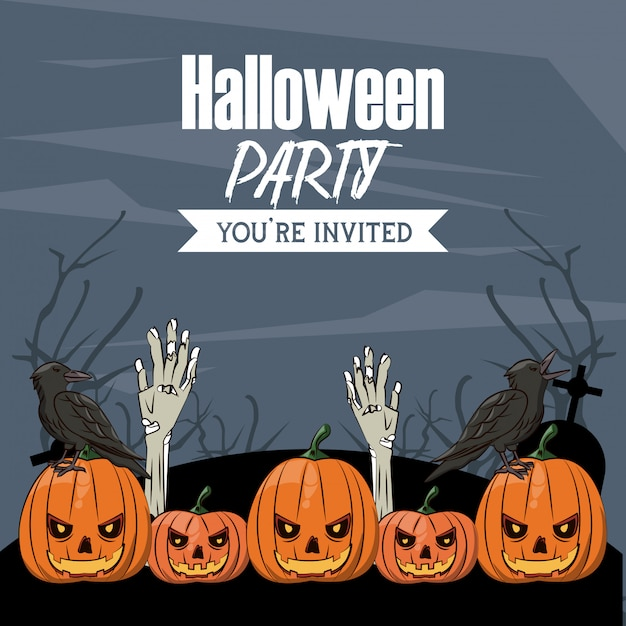 Halloween-party-karte Premium Vektoren