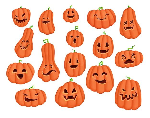 Halloween party kürbis cartoon charakter aufkleber set. gruselige jack o lantern designkollektion mit bösen augen und lächelndem gesicht. gruselige grafiken für traditionelles weihnachtskarten- und druckdesign. Premium Vektoren