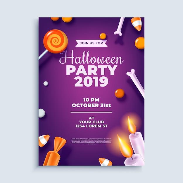 Halloween party layout poster oder flyer vorlage. Premium Vektoren