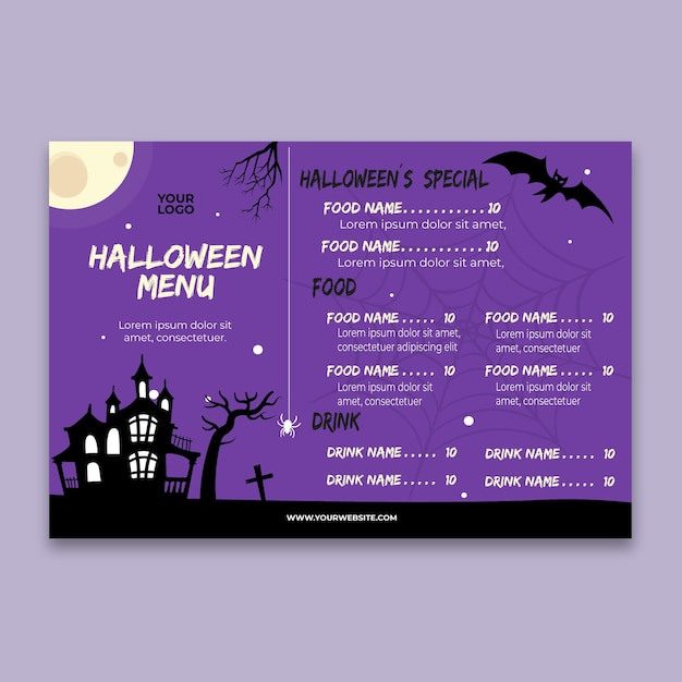 Halloween-party-menü Kostenlosen Vektoren