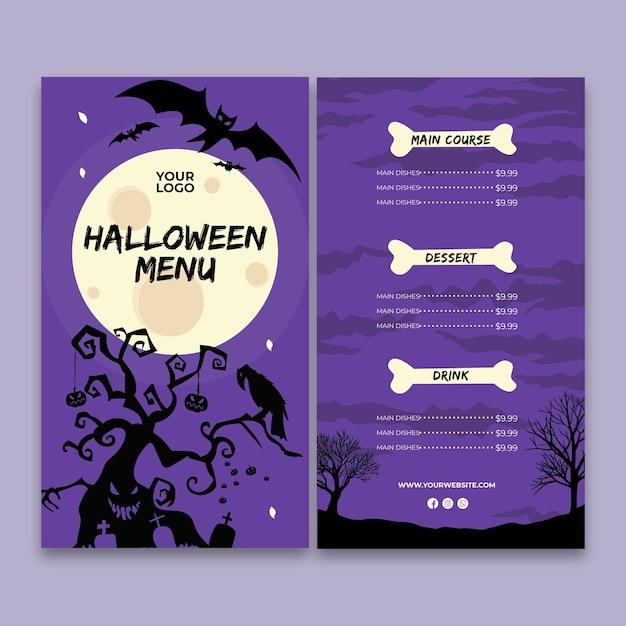 Halloween party menüvorlage Kostenlosen Vektoren