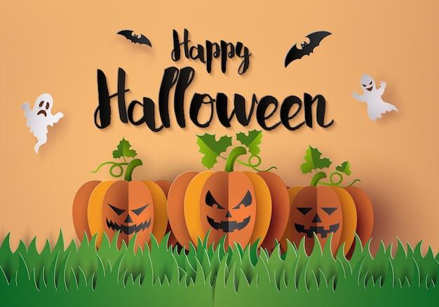 Halloween party mit gruseligen kürbissen. Premium Vektoren