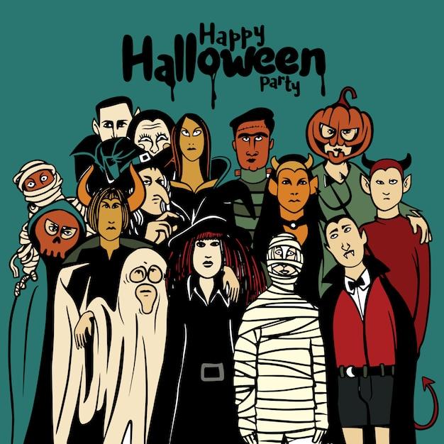 Halloween-party mit leuten im unterschiedlichen monsterkostüm Premium Vektoren