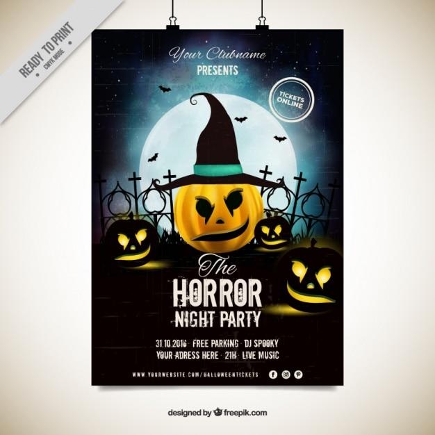 Halloween Party Plakat Von Kürbis Mit Hexenhut Download Der