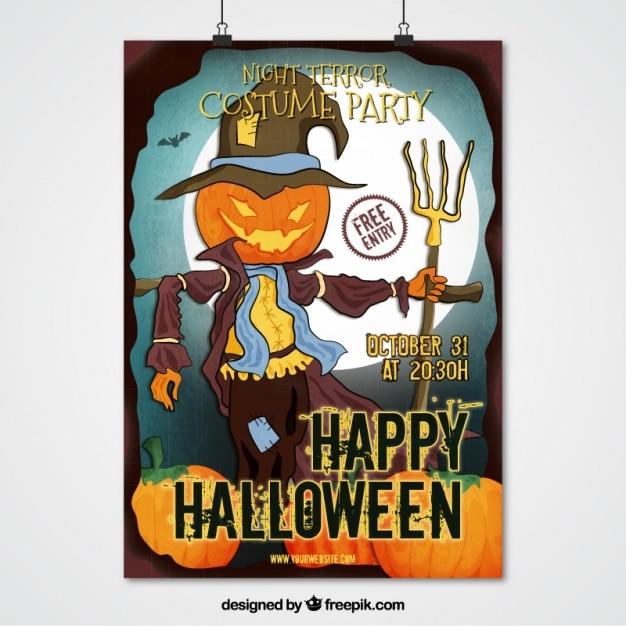 Halloween-party-plakat von vogelscheuche Kostenlosen Vektoren