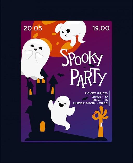 Halloween party plakat vorlage. furchtsame gespenstische geister der geistkarikatur Premium Vektoren