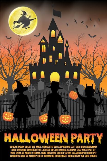 Halloween party poster oder flyer vorlage mit spukschloss und kinder Premium Vektoren