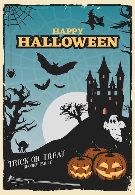 Halloween party poster Kostenlosen Vektoren