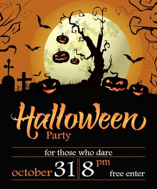 Halloween party schriftzug mit datum, baum, kürbissen und mond Kostenlosen Vektoren