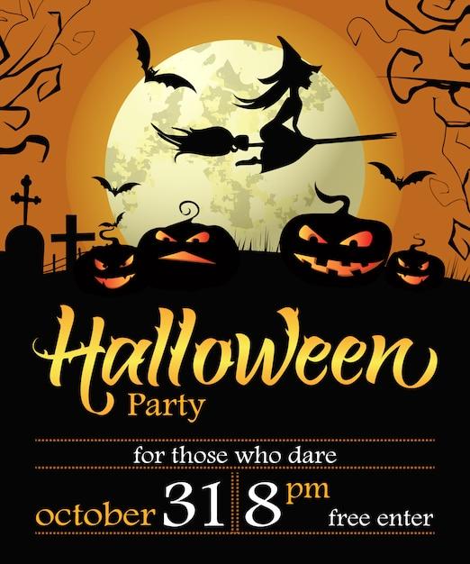 Halloween party schriftzug mit datum, hexe, kürbisse und mond Kostenlosen Vektoren