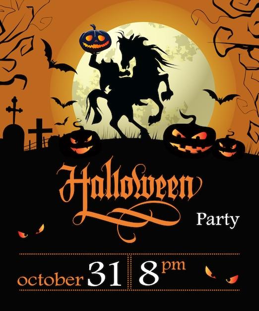 Halloween party schriftzug mit datum, kopflosen reiter und mond Kostenlosen Vektoren