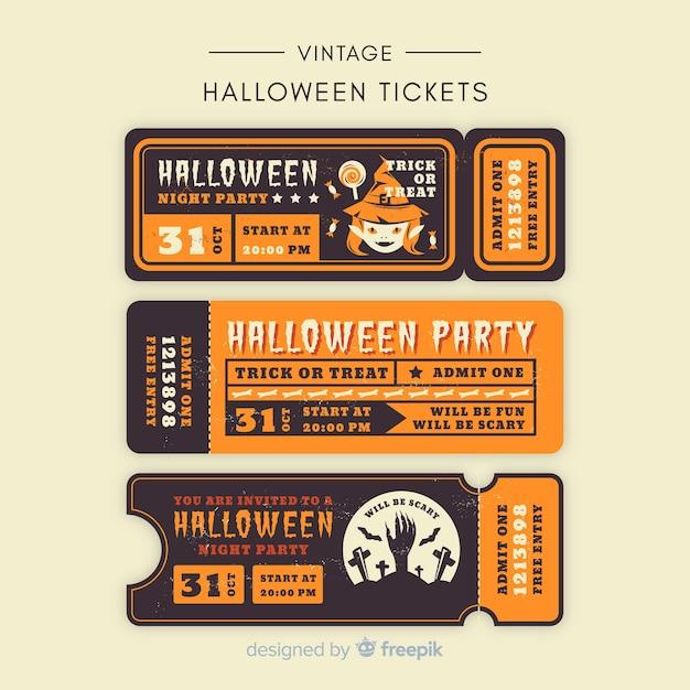 Halloween-party-ticket-sammlung mit vintage-design Kostenlosen Vektoren