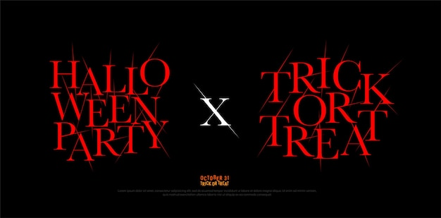 Halloween-party und trick or treat logo schrift design-vorlage. Premium Vektoren
