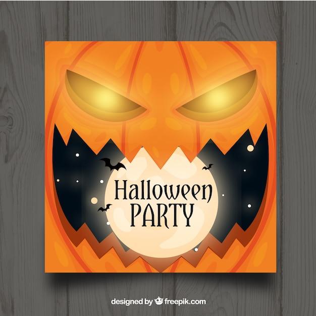 Halloween-Party-Vorlage mit Kürbis | Download der kostenlosen Vektor