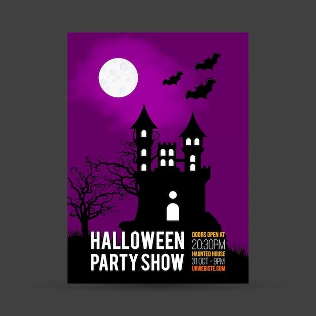 Halloween-partyeinladungskarte mit dunklem hintergrundvektor Kostenlosen Vektoren
