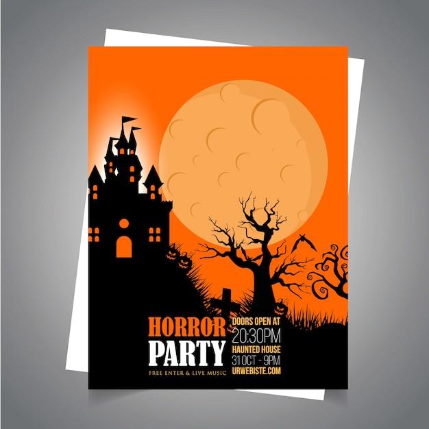 Halloween-partyeinladungskarte mit kreativem designvektor Kostenlosen Vektoren