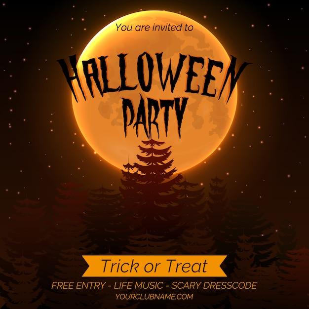 Halloween-partyeinladungsplakatschablone mit dunklem wald, vollmond und platz für text. Premium Vektoren