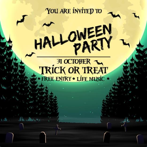 Halloween-partyeinladungsplakatschablone mit dunklem wald Premium Vektoren
