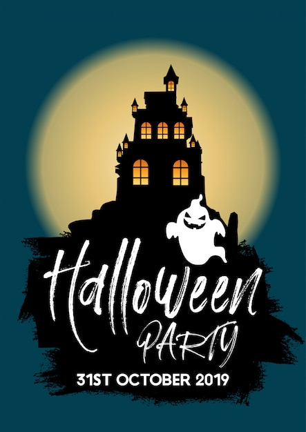 Halloween-partyhintergrund mit schloss und geist Kostenlosen Vektoren