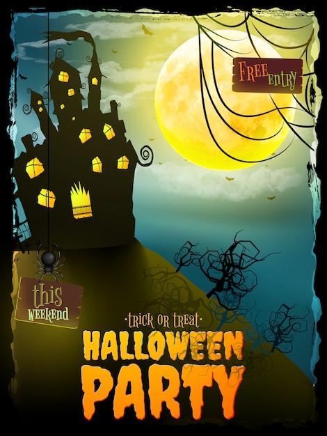 Halloween-partynacht mit spukhaus. Premium Vektoren