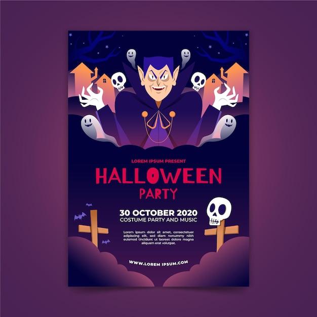 Halloween-partyplakat im flachen design Kostenlosen Vektoren