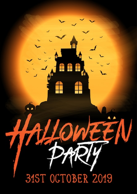 Halloween-partyplakat mit gespenstischem schloss Kostenlosen Vektoren