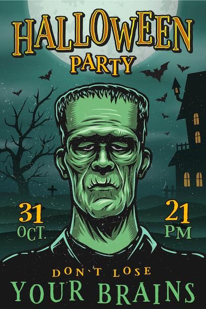 Halloween-partyplakat mit monster Premium Vektoren