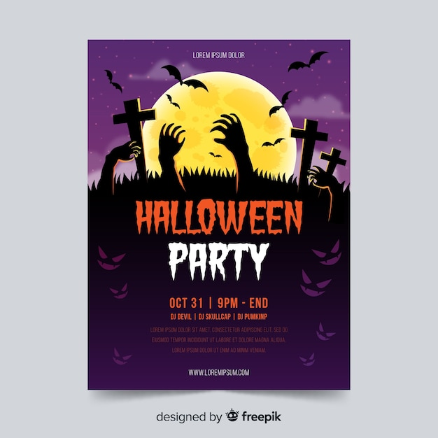 Halloween-partyplakatschablone mit den zombiehänden Kostenlosen Vektoren