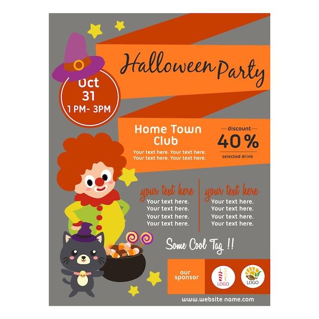Halloween-plakat mit flacher art des clownkindes Premium Vektoren