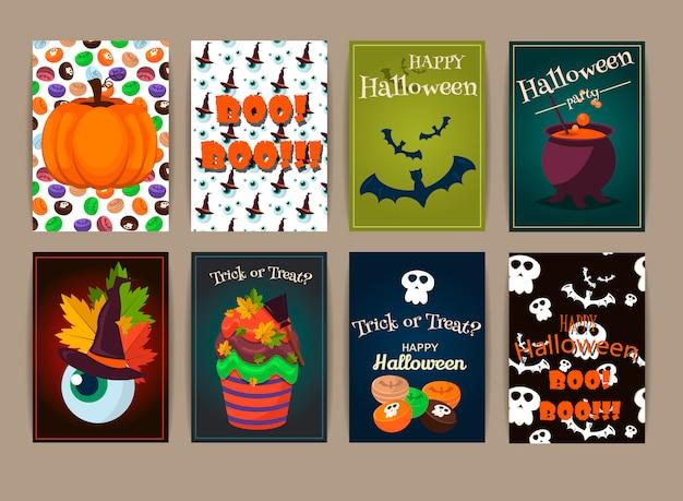Halloween-plakate eingestellt. illustration. Premium Vektoren